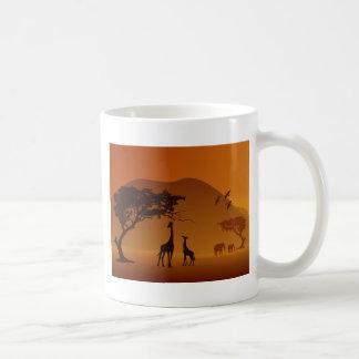 giraffe with her baby safari style classic white coffee mug