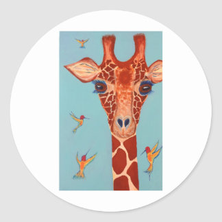 Giraffe with hummingbirds classic round sticker