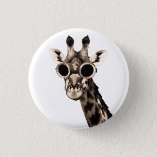 Giraffe With Steampunk Sunglasses Goggles 1 Inch Round Button
