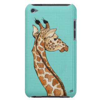 Giraffe with teal background barely there iPod covers