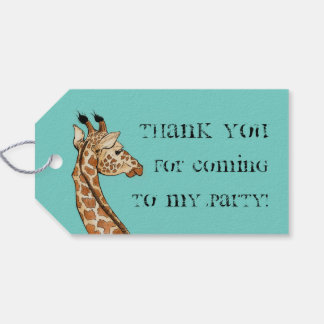 giraffe with teal background pack of gift tags