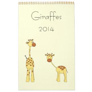 Giraffes 2014. Cute Cartoons. Wall Calendars