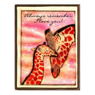 "Giraffes - ""Always remember I love you!"" Postcard"