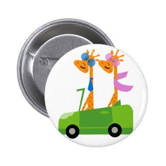 Giraffes and Car Pinback Buttons