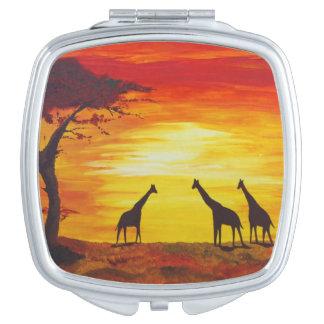 Giraffes at Sunset (Kimberly Turnbull Art) Makeup Mirror