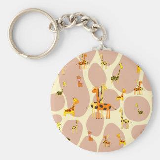 Giraffes Basic Round Button Keychain