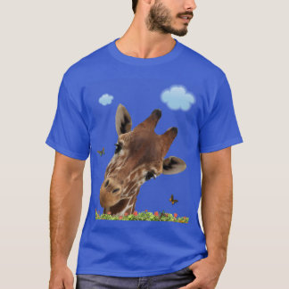 Giraffe's Butterfly Admiration. T-Shirt