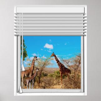 Giraffes Fake Window View Poster