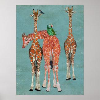 GIRAFFES & FEATHERS Art Poster