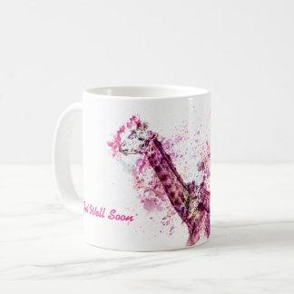 Giraffe's Hugging in Pink Coffee Mug