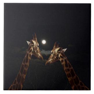 Giraffes_In The Moonlight,-Large_Ceramic_Tile Tiles