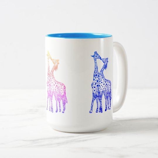 Giraffes Kiss Drawing 444 ml  Two-Tone Mug