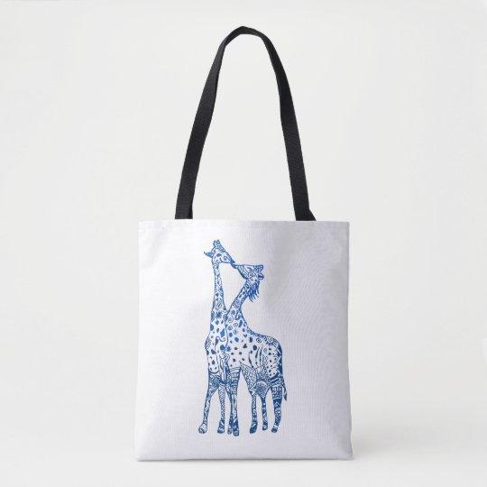 Giraffes Kiss Drawing All-Over-Print Tote Bag