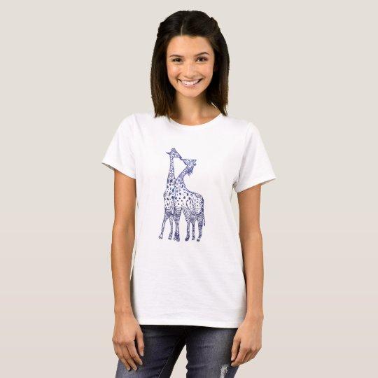 Giraffes Kiss Drawing Women's Basic T-Shirt, White T-Shirt
