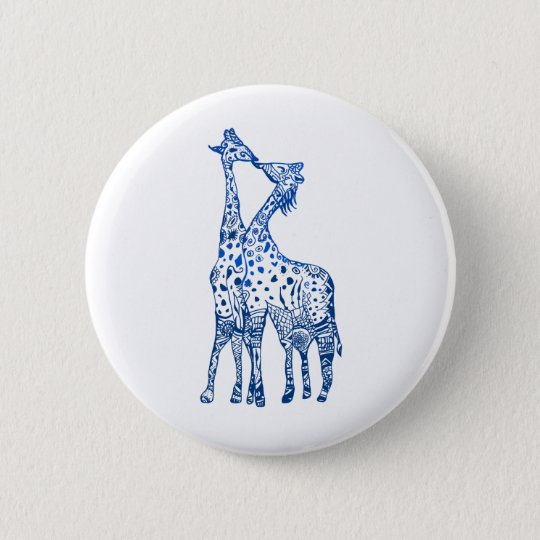 Giraffes Kiss Round Badge 2 Inch Round Button