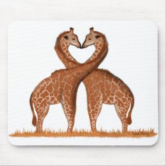 Giraffes Love Heart Mouse Mats