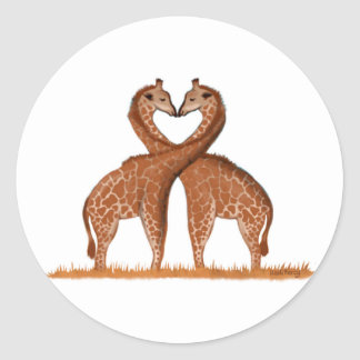 Giraffes Love Heart Stickers