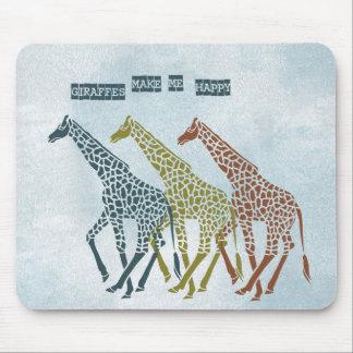 Giraffes Make Me Happy Mouse Pad