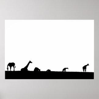 giraffes on the horizon in silhouette poster