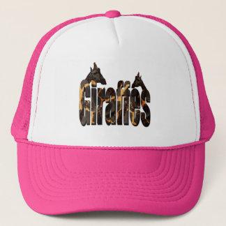 Giraffes Pattern Logo With Giraffes, Pink Trucker Hat