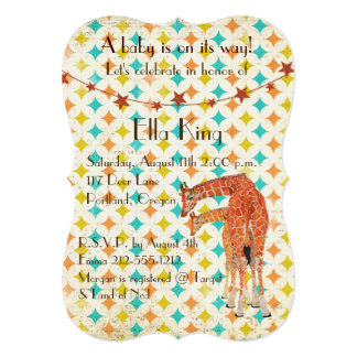 Giraffes Retro Baby Invitation