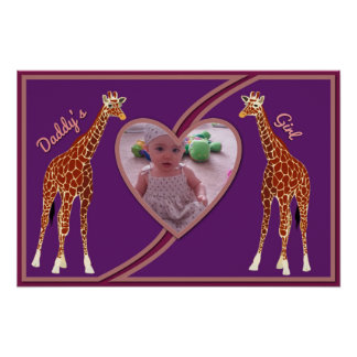 Giraffes w Heart Your Photo Daddy s Girl Poster