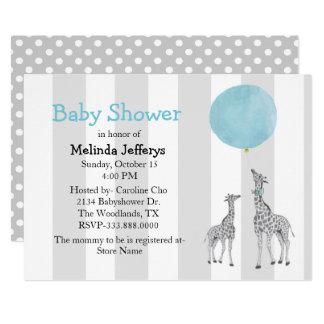Giraffes with Balloon Baby Shower Invitation