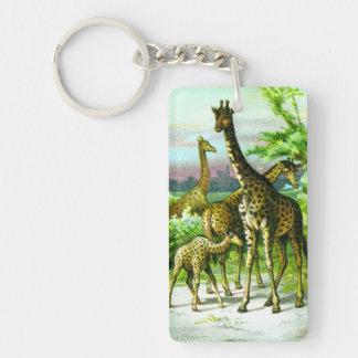 Giraffes with Calf Vintage Illustration Single-Sided Rectangular Acrylic Keychain