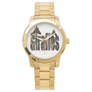 Giraffes With Giraffe Pattern Logo, Large Unisex Watch