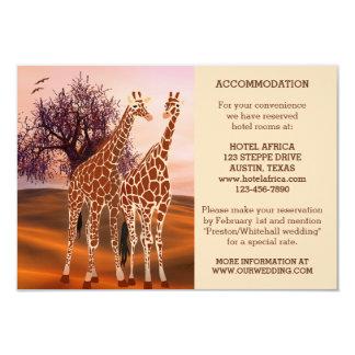 "Giraffes Zoo Wedding Insert or Accommodation Card 3.5"" X 5"" Invitation Card"