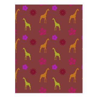 giraffesand flowers postcard