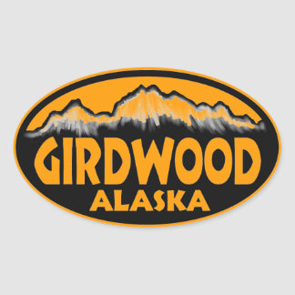 Girdwood Alaska orange oval stickers