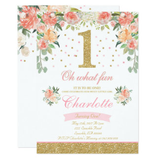 Girl 1st Birthday Invitation Elegant Floral