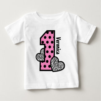 GIRL 1st Birthday PINK Polka Dots Zebra Hearts Baby T-Shirt