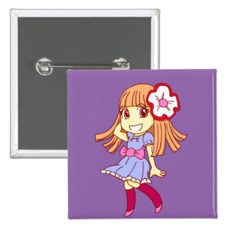 Girl 2 Inch Square Button
