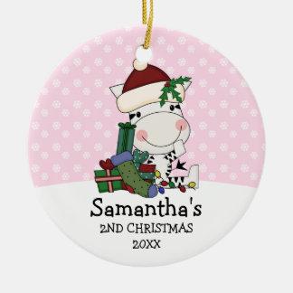 Girl 2nd Christmas Santa Zebra Personalized Round Ceramic Ornament