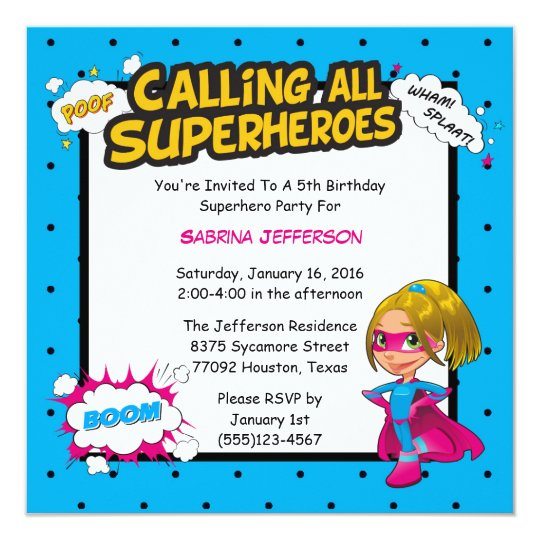 Girl 5x5 Comic Superhero Birthday Party Invitation
