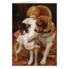 Girl, a St. Bernard and a Kitten, Card