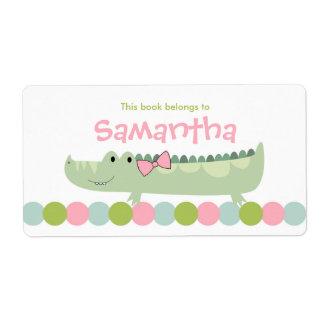 Girl Alligator Bookplate Label  / Book Plate