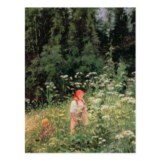 Girl among the wild flowers, 1880 postcard
