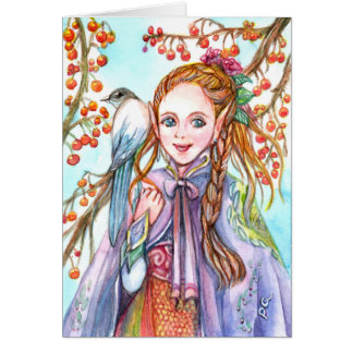 Girl and Bird Card
