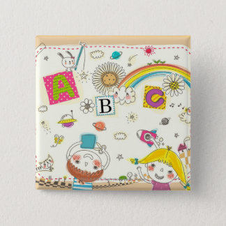 Girl and boy playing by blackboard 2 inch square button