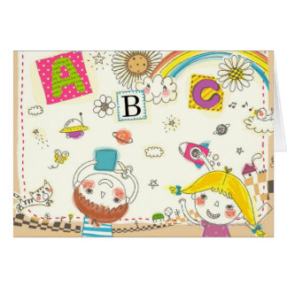 Girl and boy playing by blackboard card