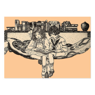 Girl and Boy Reading Large Business Card