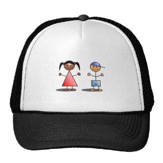 Girl and Boy Stick Figures Trucker Hat