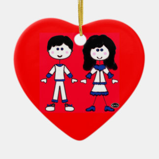 Girl and Boy Stick People Ceramic Ornament