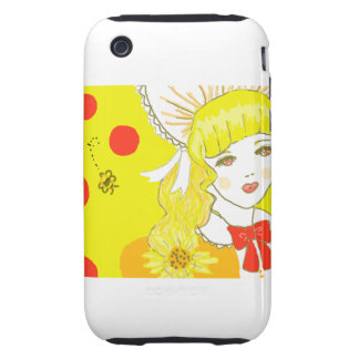 Girl and Buzzing Bee Tough iPhone 3 Covers