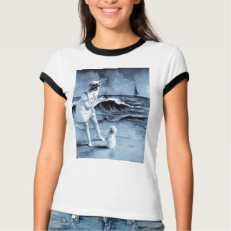 Girl and Dog Day at the Beach Vintage Victorian T-Shirt