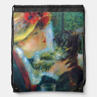 Girl and Dog Renoir Impressionism Fine Art Drawstring Bag
