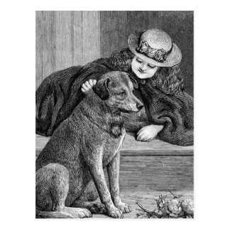 """Girl and Dog"" Vintage Illustration Postcard"